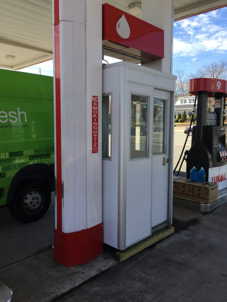 3x4 Gas Station Attendant Booth in Rutherford, NJ with anchoring Brackets