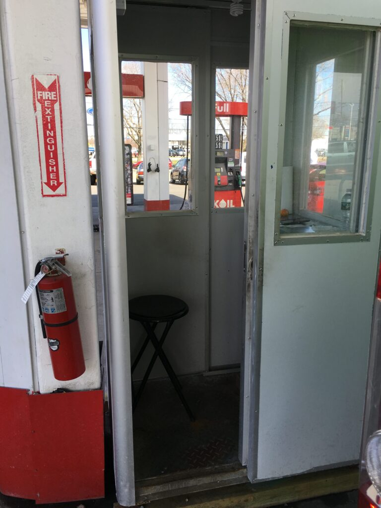 3x4 Gas Station Attendant Booth in Rutherford, NJ with sliding doors, fire extinguisher, and Fixed Windows