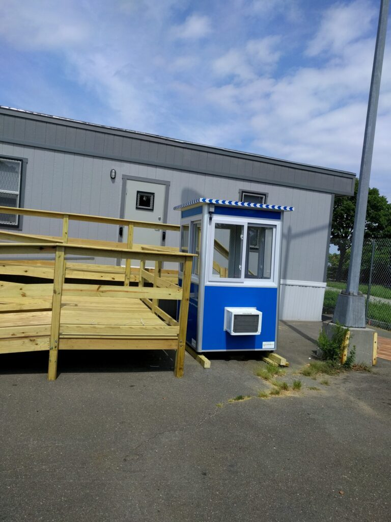 4x4 Construction Site Booth in Queens, NY with Built-in AC, Sliding Windows, and Anchoring Brackets