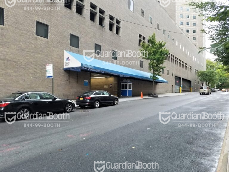 4x4 Hospital Security Booth in New York, NY with Swing Door, Breaker Panel Box, and Anchoring Brackets