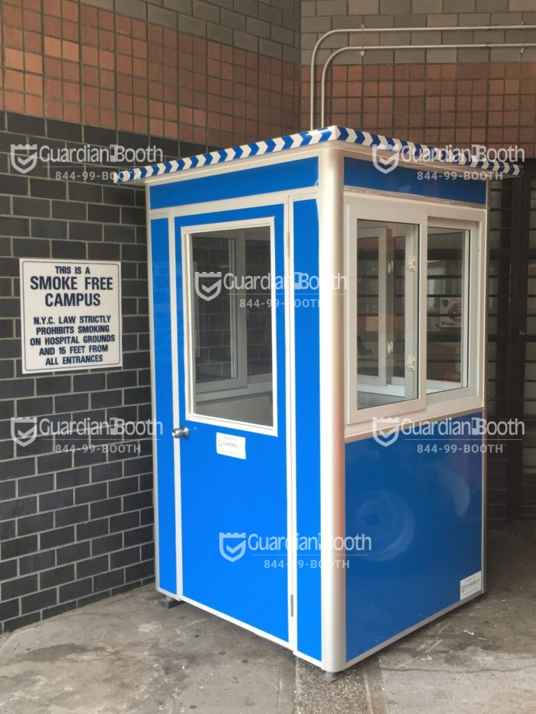 4x4 Hospital Security Booth in Queens, NY outside Hospital Entrance, With Sliding Windows, Swing Door, and Baseboard Heaters (2)