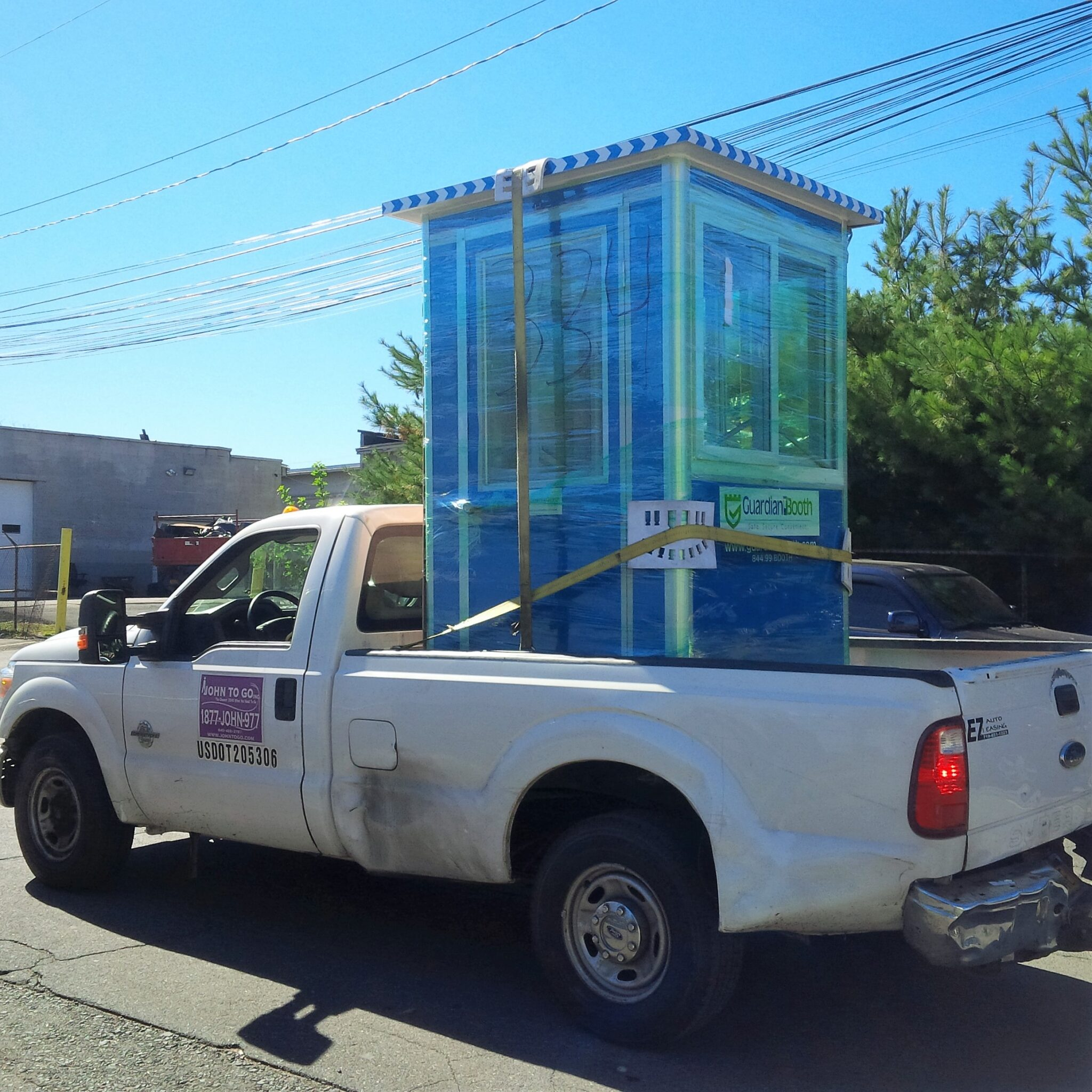 4x4 Parking Attendant Booth ready for Delivery in St James, NY with Sliding Windows and Swing Door