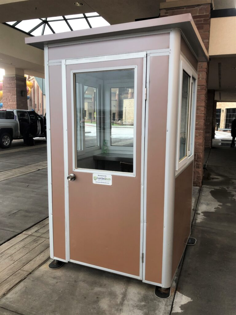 4x4 Parking Booth in Irving, TX with Custom Exterior Color, Swing Door, and Fixed Window