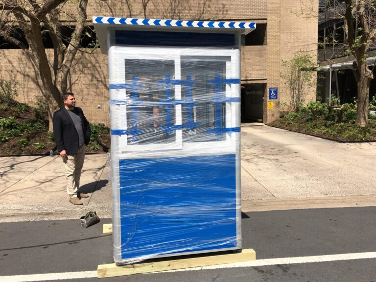 4x4 Parking Booth in North Bethesda, MD with Sliding Windows, Swing Door, and Breaker Panel Box