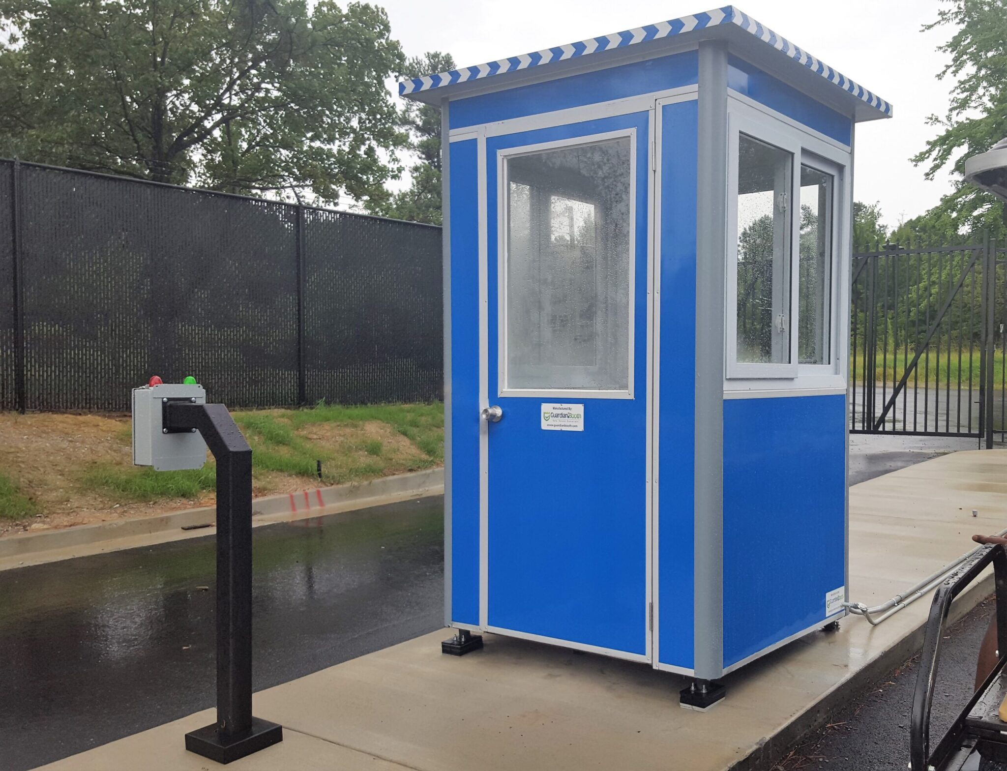 4x4 School Security Booth in Atlanta, GA controlling Front Gate with Intercom System, Sliding Windows, and Anchoring Brackets