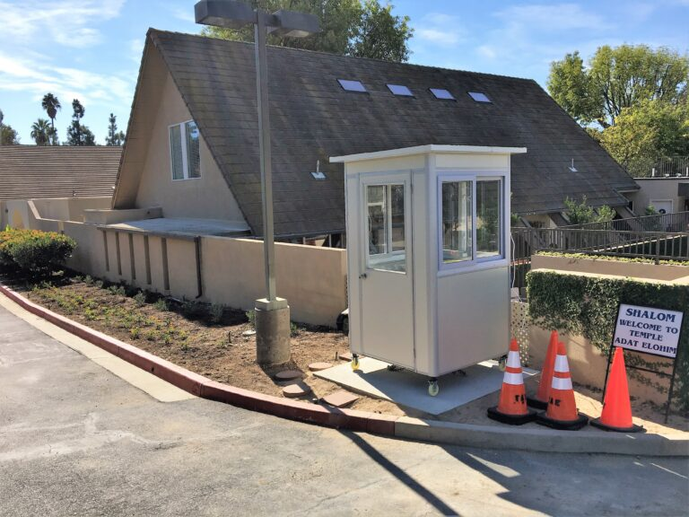 4x4 School Security Booth in Thousand Oaks, CA outside a Temple with Caster Wheels, Custom Exterior Color, and Built-in AC