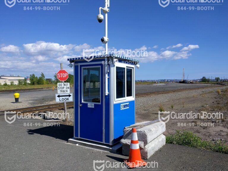 4x4 Security Guard Booth in Jersey City, NJ at Greenville Yard with Tinted Windows, Outside Spotlights, and Swing Door