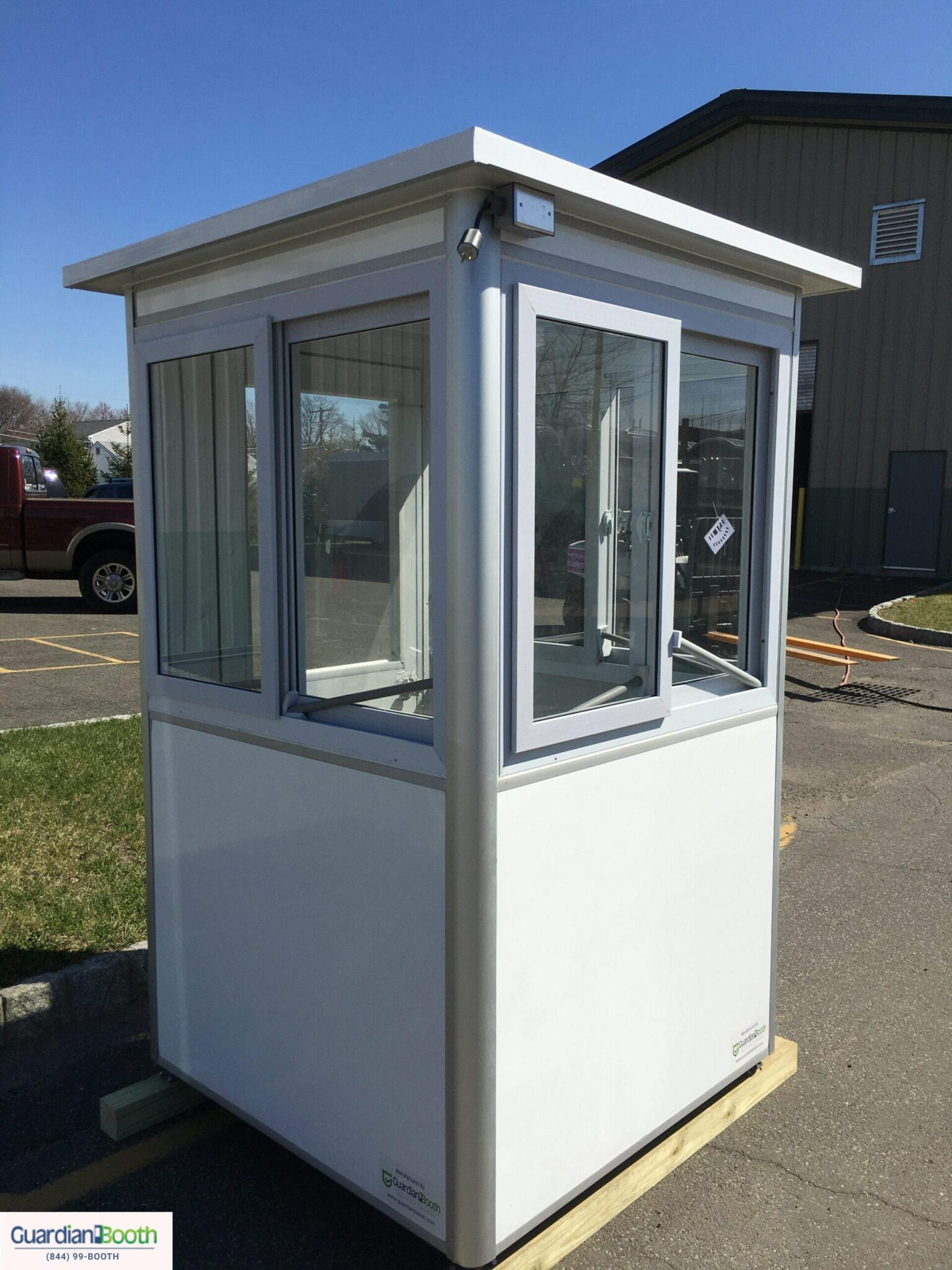 4x4 in Airport Security Booths in Cook County, Illinois with Sliding Windows, External Junction Box, and Exterior Custom Vinyl
