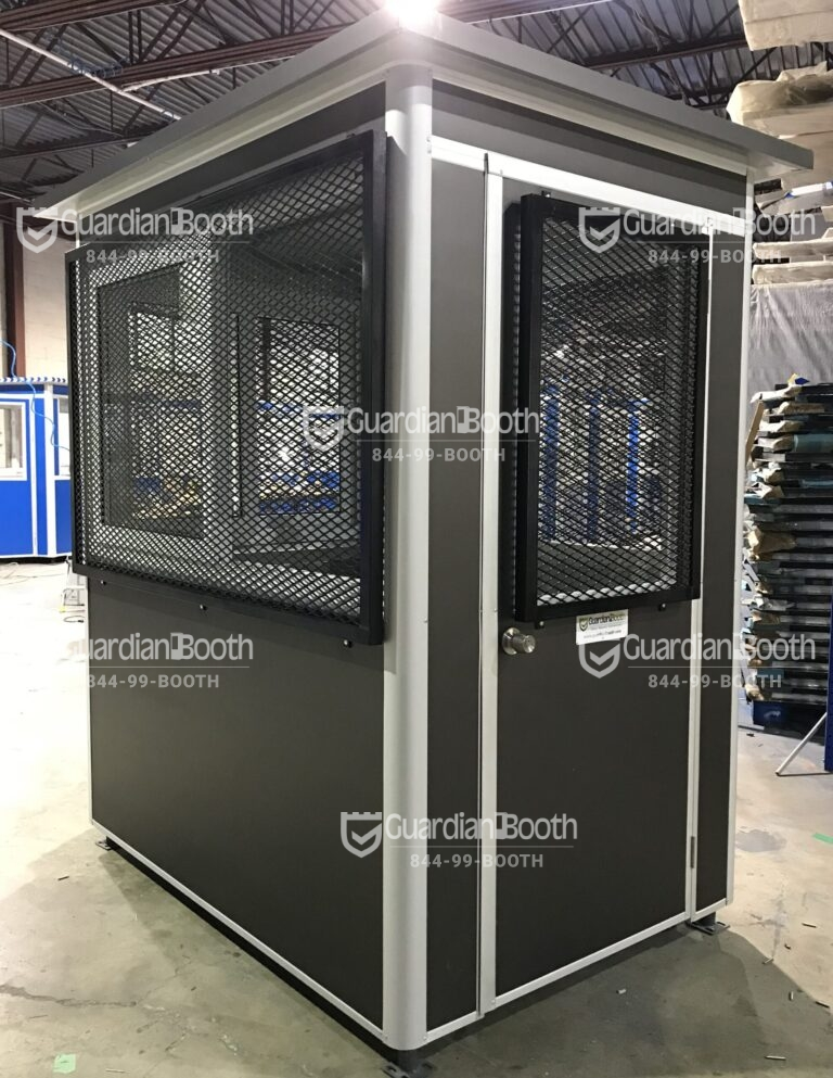 4x6 Airport Security Booth San Diego, CA with Exterior Custom Vinyl Wrap and Customized Window Cage