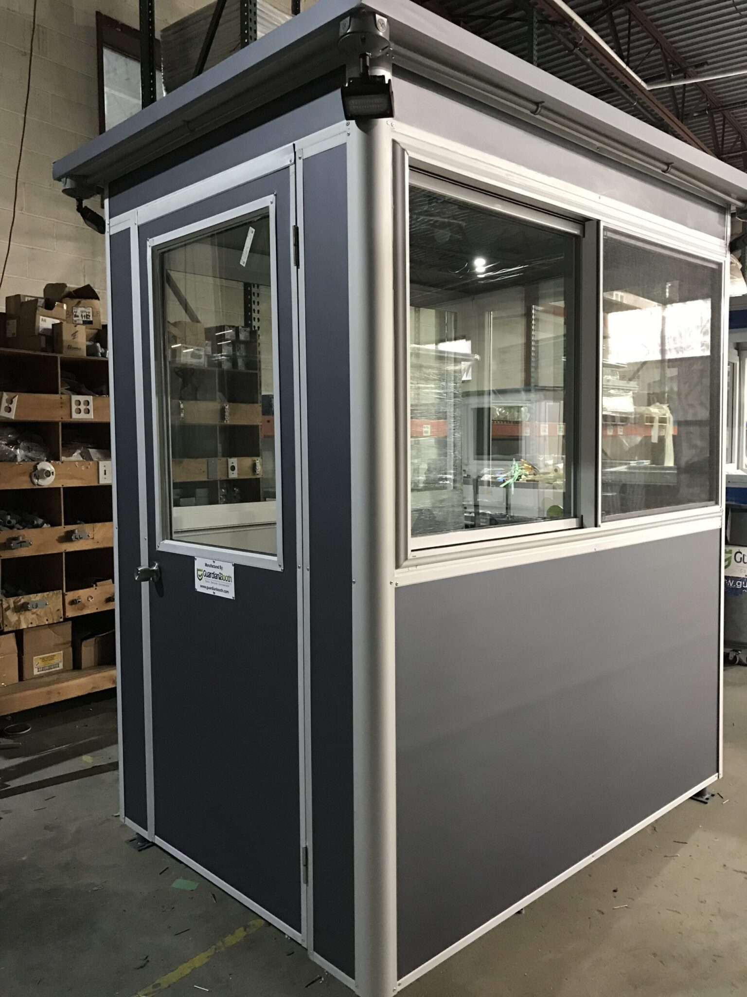 4x6 Booth with Add-On Features Custom Exterior Color,  Window Screens and Outside Spotlights