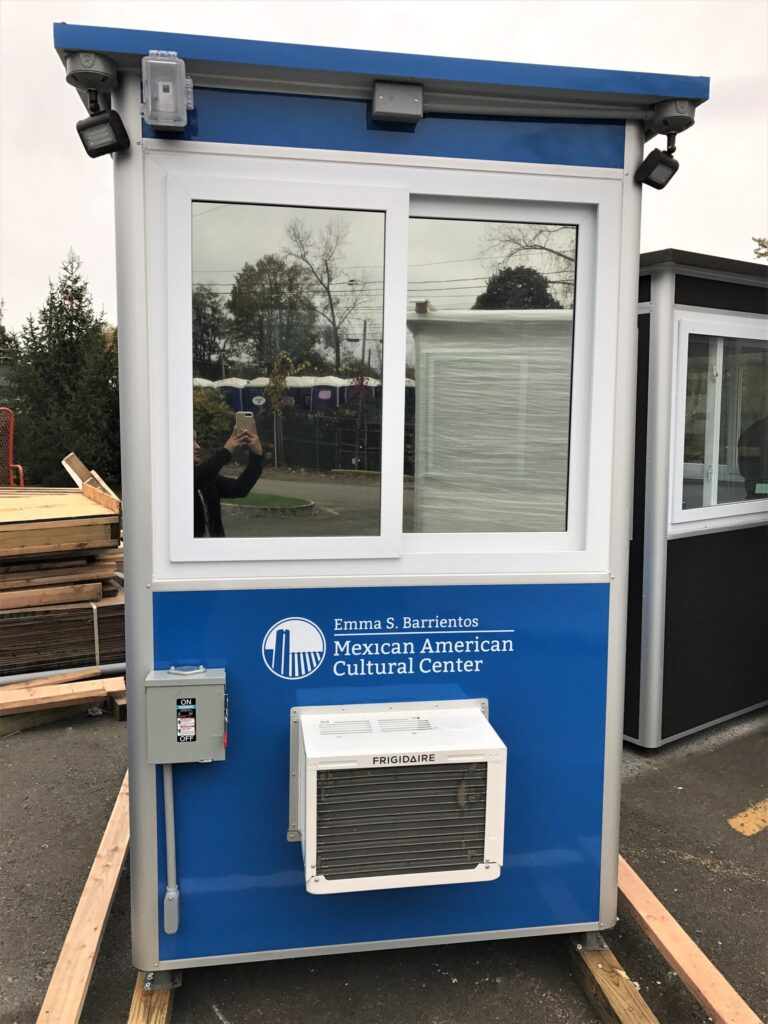 4x6 Cashier Booth in Austin, TX with built-in AC, baseboard Heaters Electric Disconnect Switch, Breaker Panel Box, Anchoring Brackets