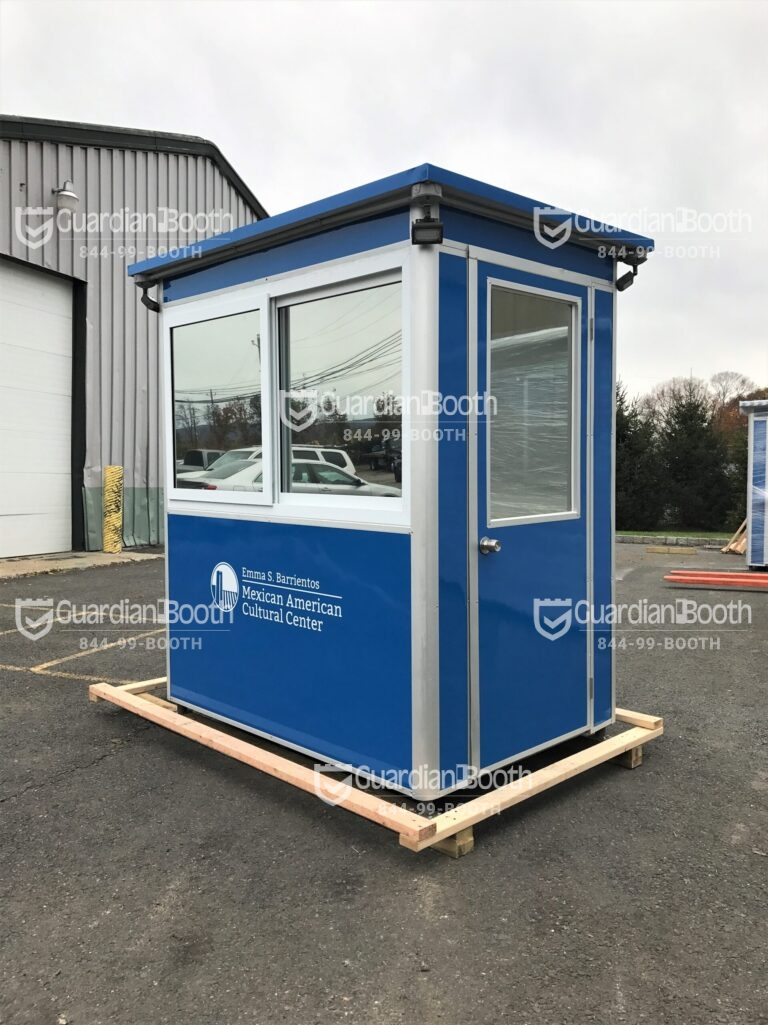 4x6 Cashier Booth in Austin,TX with  Outside Spotlights, Custom Graphics, Tinted Windows, Ethernet Port and Phone Line