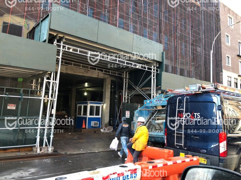 4x6 Construction Site Booth in New York, NY with Built-in AC, Outside Spotlights, and Tinted Windows