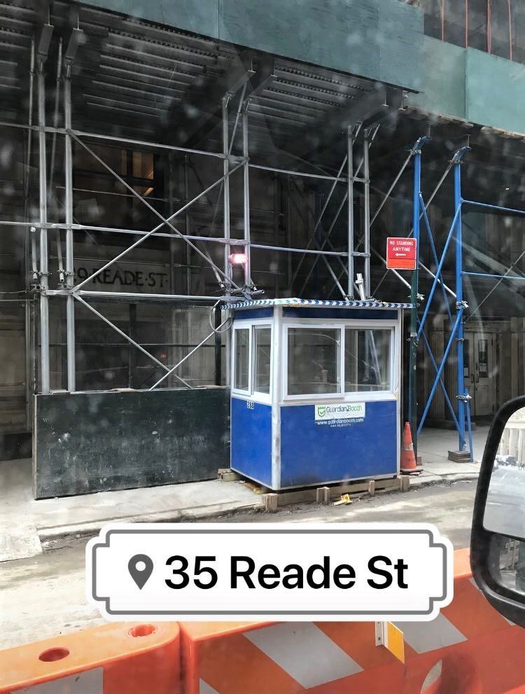 4x6 Construction Site Booth in New York, NY with Sliding Windows, Swing Door, and Anchoring Brackets
