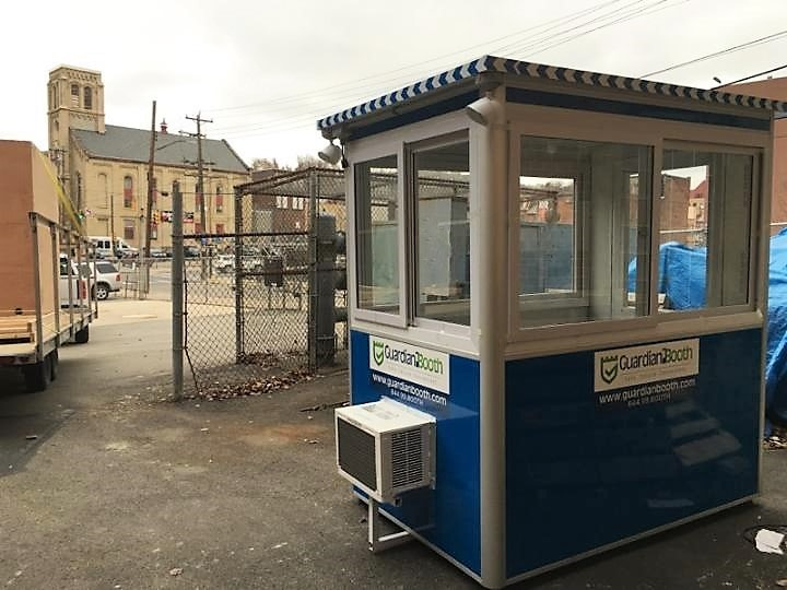 4x6 Construction Site Booth in Pittsburgh, PA with Outside Spotlights, Built-in AC, and Breaker Panel Box