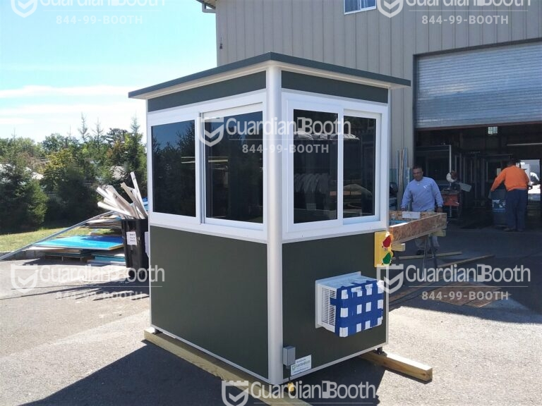 4x6 Entrance Gate Booth in Calverton, NY with Traffic Lights, Tinted Windows, Anchoring Brackets, and Built-in AC
