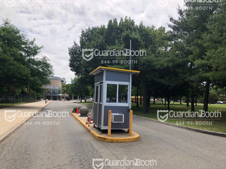 4x6 Entrance Gate Booth in Corona, NY Pitched Roof, Sliding Door, Built-in AC, and Baseboard Heaters