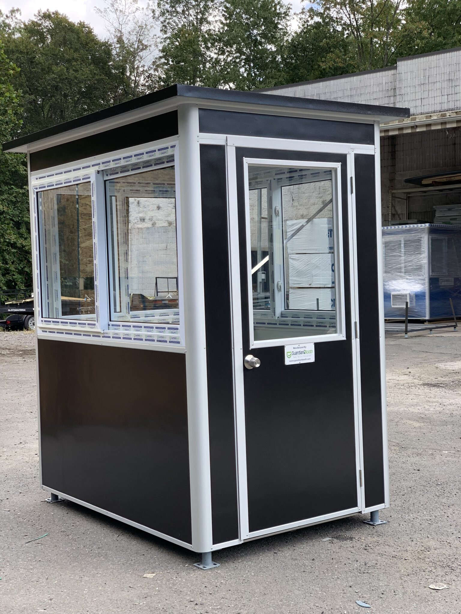 4x6 Parking Attendant Booth in San Carlos, CA with Custom Exterior Vinyl Wrap, and Sliding Glass Windows 1