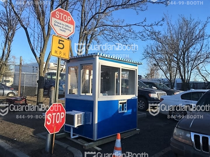 4x6 Parking Booth in Carlstadt, NJ in a parking lot with Sliding Windows, Custom Graphics, and Built-in AC