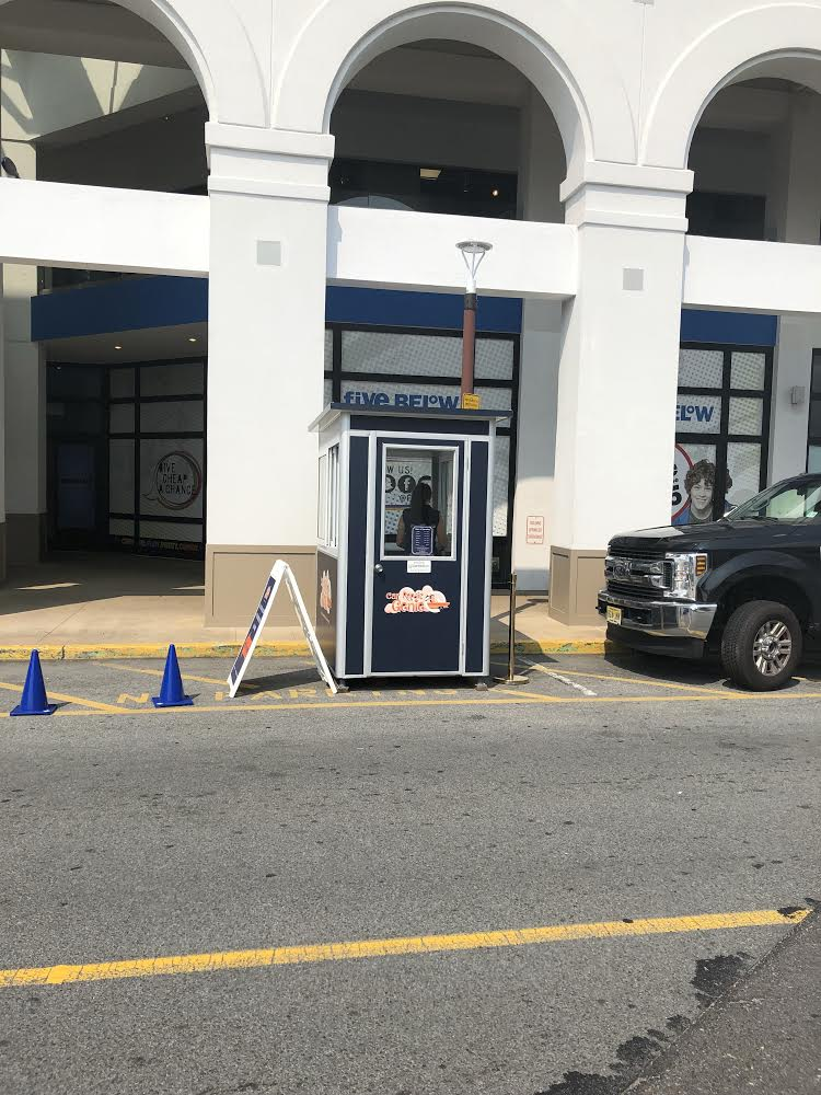 4x6 Parking Booth in Glendale, NY with Custom Graphics and Swing Door