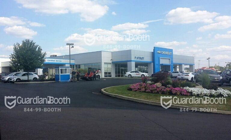4x6 Parking Booth in Limerick, PA outside a Car Dealership with Swing Door and Sliding Windows