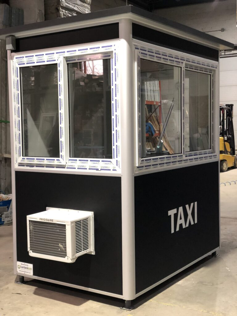 4x6 Parking Booth in New York, NY with Sliding Windows, Custom Graphics, Custom Exterior Color, Built-in AC, and Swing Door