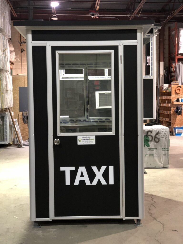 4x6 Parking Booth in New York, NY with Custom Exterior Color, Custom Graphics, and Swing Door