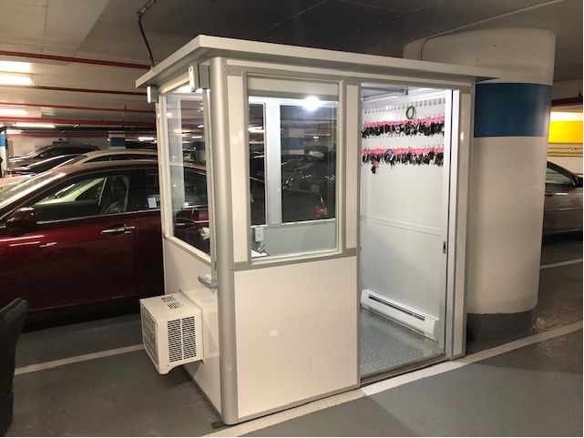 4x6 Parking Booth in Washington, DC with Sliding Door, Key Hooks, and AC