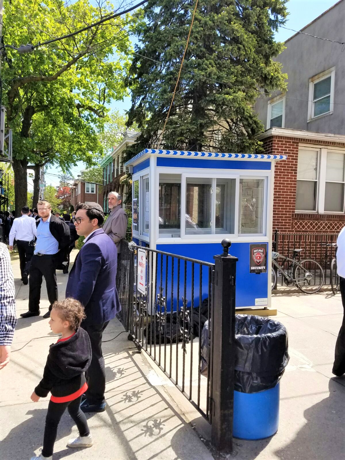 4x6 School Security Booth in Brooklyn, NY with Sliding Windows, Built-in AC, Baseboard Heaters, and Perimeter Security Fencing
