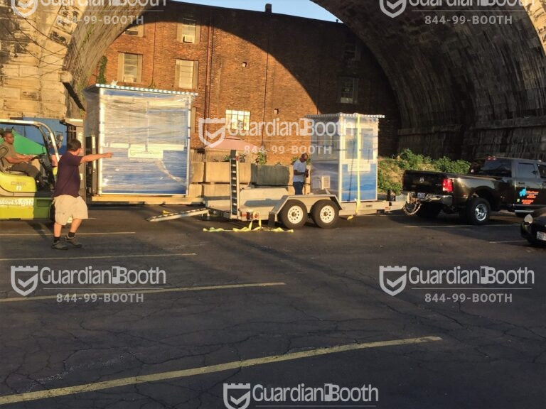 4x6 Security Guard Booth Delivered in Cleveland, OH with Built-in AC and Sliding Windows