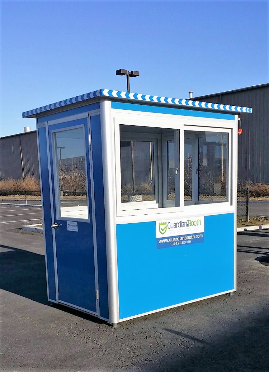 4x6 Security Guard Booth in Allentown,PA with Swing Door, Sliding Windows, Built-in AC, and Baseboard Heaters