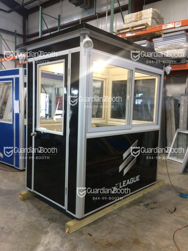 4x6 Security Guard Booth in Atlanta, GA with Custom Graphics, Custom Exterior Color, Outside Spotlights, and Built-in Ac