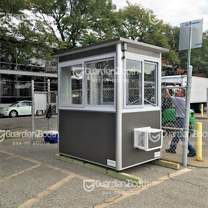 4x6 Security Guard Booth in Chicago, IL on a TV Set with Custom Exterior Color, Built-in AC, Baseboard Heaters, and Anchoring Brackets