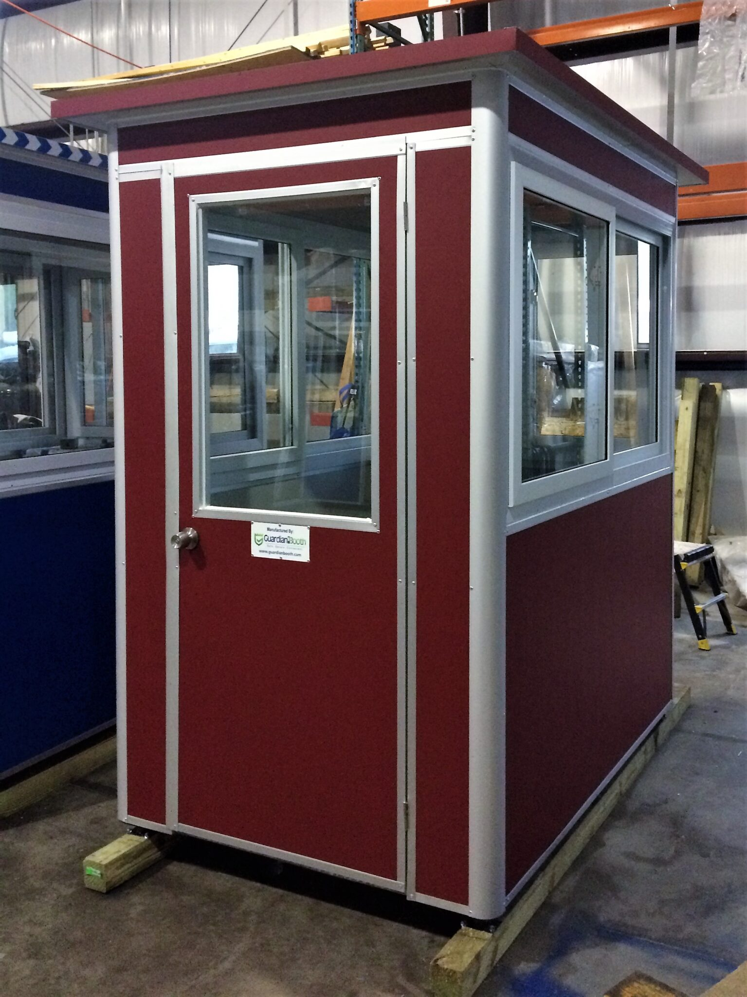 4x6 Security Guard Booth in Englewood, NJ with Custom Exterior Color, Baseboard Heaters, Builtin AC, and Breaker Panel Box