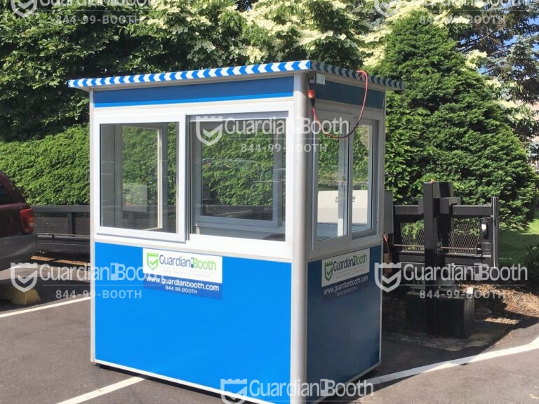 4x6 Security Guard Booth in Hauppauge, NY with Sliding Windows, Swing Door, Breaker Panel Box, and Ethernet Port and Phone Line