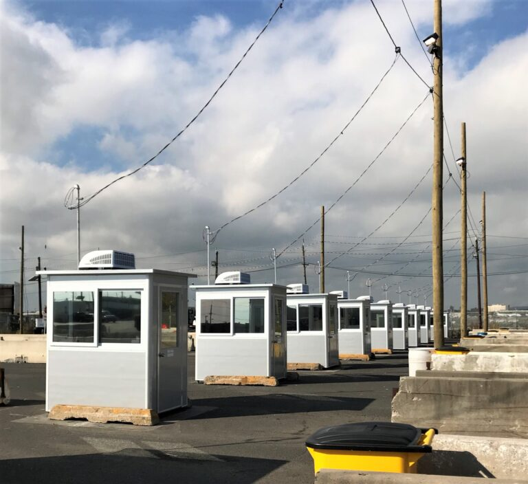 4x6 Security Guard Booths in Port Elizabeth, NJ with Tinted Windows, HVAC System, Breaker Panel Box, Custom Exterior Color
