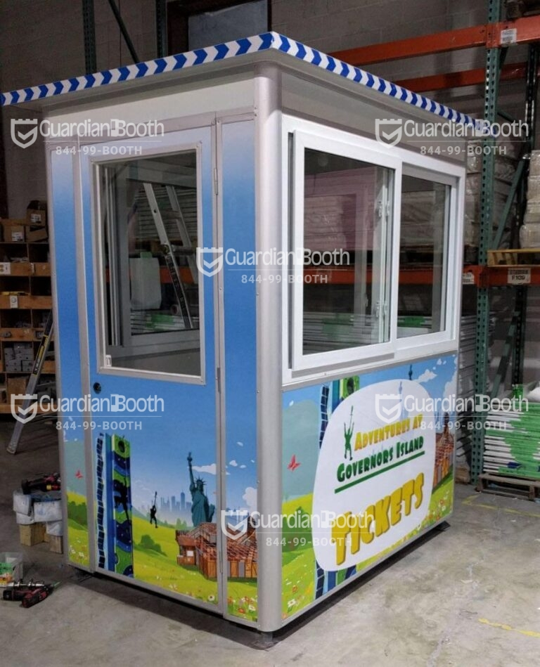 4x6 Ticket Booth in Governor's Island, NY with Swing Door, Sliding Windows, and Anchoring Brackets