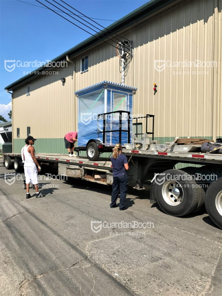 4x6 Trailer Booth Delivered in Chalk River, Ontario, Canada with Outside Spotlights, Fixed Window, and Swing Door