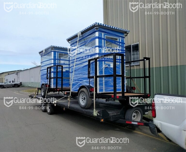 4x6 Trailer Booths Ready for Delivery in Jacksonville, FL with Outside Spotlights and Swing Door
