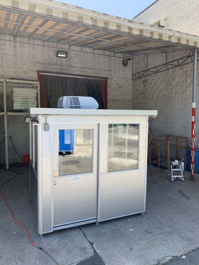 6 x 8 Entrance Gate Booth in Los Angeles, CA with Vinyl Protective Wrap, ADA sliding door, Slopped Roof, Rooftop AC System 2