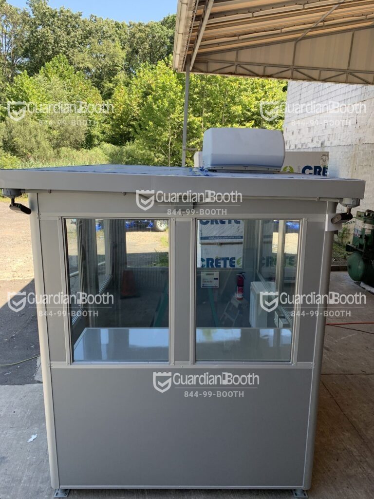 6' x 8' General Security Booth in Van Nuys, CA with Vinyl Protective Wrap, ADA sliding door, Slopped Roof, Rooftop AC System 1