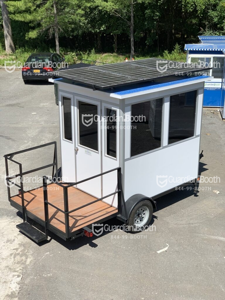 6x8 Portable Trailer Booth mounted on Flatbed Trailer in Edwards, CA with Custom Color and Solar Panel with Battery Backup