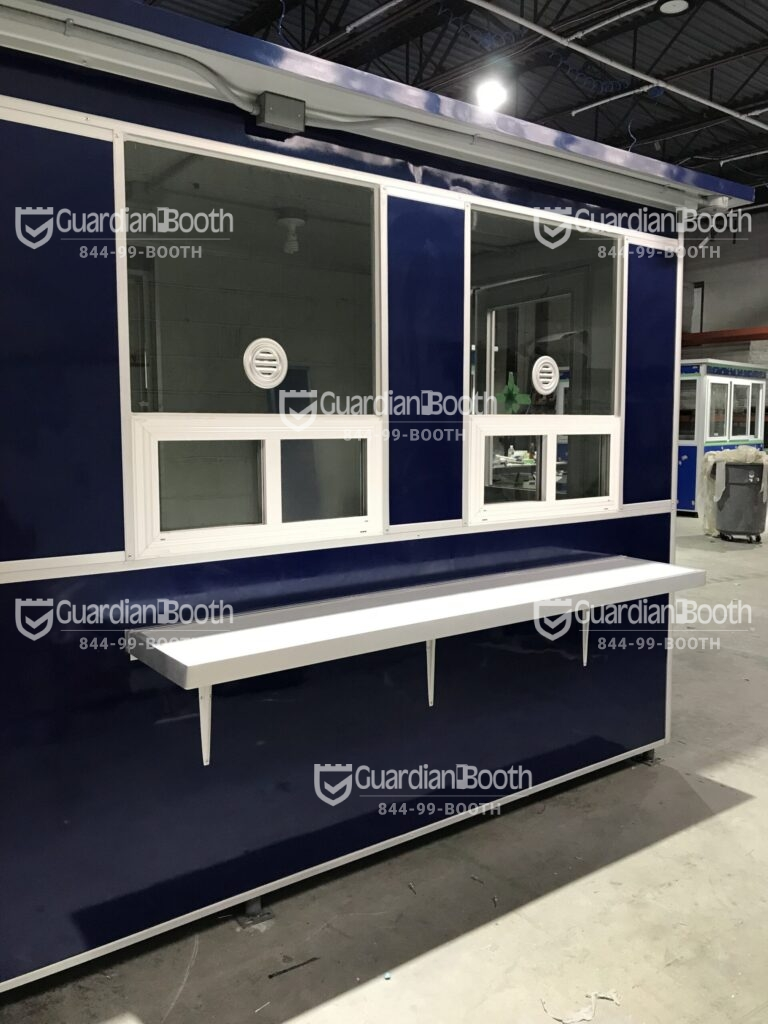 6x16 Booth with Add-on Features Custom Exterior Color, Ticket Transaction Windows, Exterior Counter, Retractable Awning, Outside Spotlights - Copy