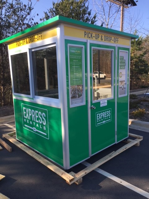 6x6 Parking Booth in Hiram, GA with Custom Graphics, Custom Exterior Color, Tinted Windows, and Swing Doors