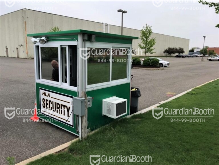 6x6 Security Guard Booth in Farmingdale, NY outside a Warehouse with Built-in AC, Breaker Panel Box, and Custom Exterior Color