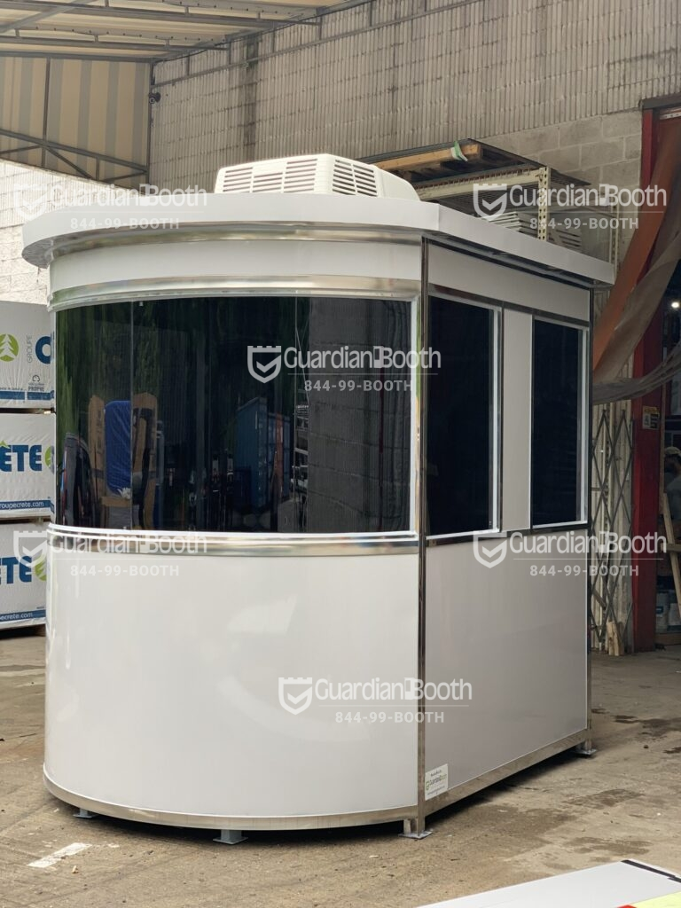 6x8 Airport Security Booth Round in Queens, NY with Exterior Custom Wrap, Tempered Tinted Windors, Roof