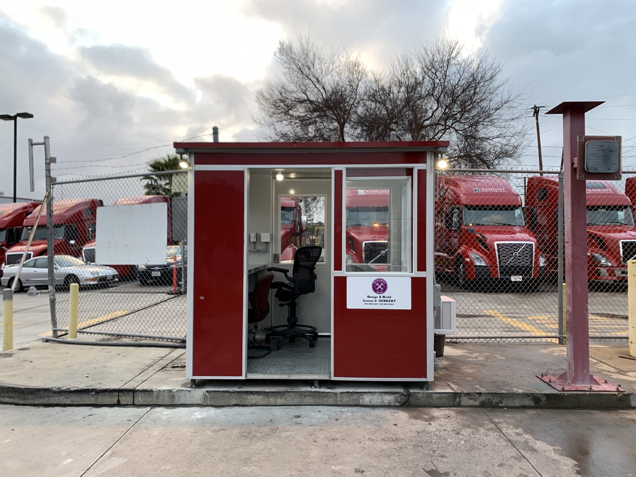 6x8 Entrance Bate Booth in Phoenix, AZ with Outside Spotlights, Built-in AC, Baseboard Heaters, and Breaker Panel Box1