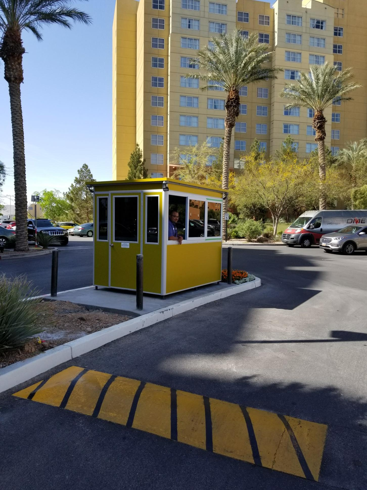 6x8 Entrance Gate Booth Las Vegas, NV with Custom Exterior Vinyl Wrap and Tinted Windows