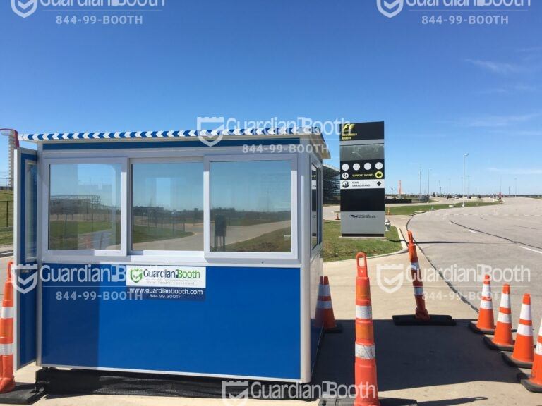 6x8 Entrance Gate Booth in Austin, TX with Tinted Windows, Swing Doors, and Sliding Windows