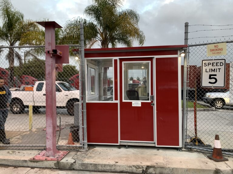 6x8 Entrance Gate Booth in Phoenix, AZ with Sliding Door, Extra Desk, Custom Exterior Color, and Electric Disconnect Switch
